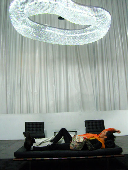 Shape changing robotic chandelier for Swarovski